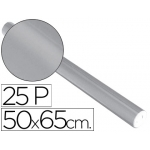Liderpapel 29139 - Papel metalizado, rollo de 25 hojas trepadas, 50 x 65 cm, color plata
