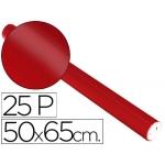 Papel metalizado color rojo rollo 25 hojas trepado 50x65 cm