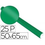 Papel metalizado color verde rollo 25 hojas trepado 50x65 cm