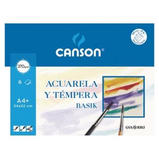 Papel para acuarela y témpera basik Canson tamaño A4 370 gr pack de 6 hojas 24 x 32 cm