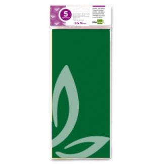 Liderpapel SE29 - Papel seda, tamaño 52x76 cm, 18 gr/m2, color verde oscuro, bolsa de 5 hojas