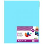 Liderpapel SE15 - Papel seda, tamaño 52x76 cm, 18 gr/m2, color azul celeste, paquete de 25 hojas