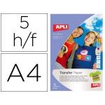 Papel transfer Apli para prendas oscuras con acabado fotográfico tamaño A4 pack de 5 hojas