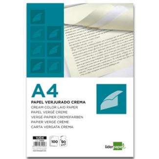 Liderpapel VJ04 - Papel verjurado, tamaño A4, 90 gr/m2, color crema, paquete de 100 hojas