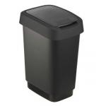 Papelera contenedor Offisys plástico con tapa de balancín 2 posiciones 50 litros color negra 401x298x602 mm