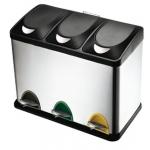 Papelera contenedor Q-connect metálica con tapadera de plástico y pedal 3 depósitos 45l 605x340x485 mm