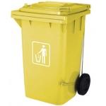 Papelera contenedor Q-connect plástico con tapadera 100l color amarillo 750x470x370 mm con ruedas
