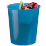 Papelera plástico Q-Connect color azul translúcido 16 litros