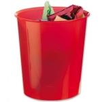 Papelera plástico Q-Connect color rojo translúcido 16 litros