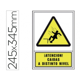 Pictograma Syssa señal de advertencia atencion! caidas a distinto nivel en pvc 245x345 mm
