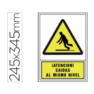 Pictograma Syssa señal de advertencia atencion! caidas al mismo nivel en pvc 245x345 mm
