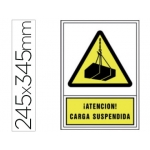 Pictograma Syssa señal de advertencia atencion! carga suspendida en pvc 245x345 mm