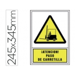 Pictograma Syssa señal de advertencia atencion! paso de carretilla en pvc 245x345 mm