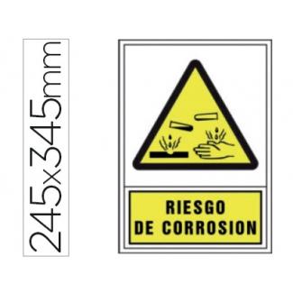 Pictograma Syssa señal de advertencia riesgo de corrosión en pvc 245x345 mm