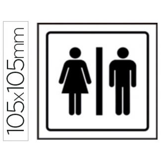 Pictograma Syssa señal de aseos caballeros-señoras en pvc 105x105 mm