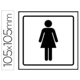 Pictograma Syssa señal de aseos señoras en pvc 105x105 mm