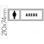 Pictograma Syssa señal de aseos señoras en pvc 210x74 mm