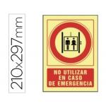 Pictograma Syssa señal de no utilizar en caso de emergencia en pvc fotoluminiscente 210x297 mm
