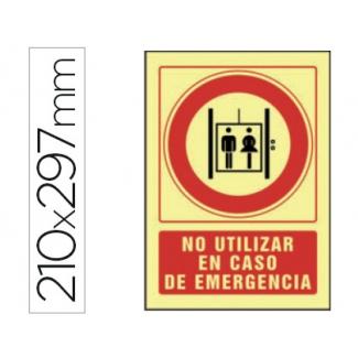 Syssa 5095F - Señal de no utilizar en caso de emergencia, pvc fotoluminiscente, medida 297 mm x 210 mm