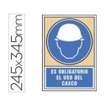 Pictograma Syssa señal de obligación es obligatorio el uso de casco en pvc 245x345 mm