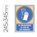 Pictograma Syssa señal de obligación es obligatorio el uso de los guantes en pvc 245x345 mm