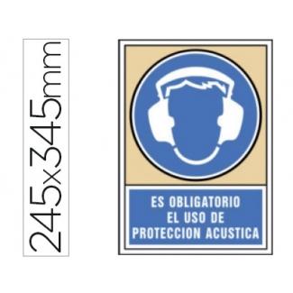 Pictograma Syssa señal de obligación es obligatorio el uso de protección acústica en pvc 245x345 mm