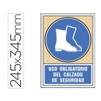 Pictograma Syssa señal de obligación uso obligatorio del calzado de seguridad en pvc 245x345 mm