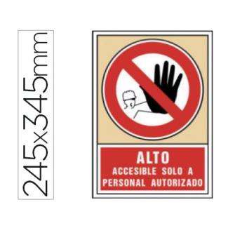 Pictograma Syssa señal de prohibición alto accesible solo a personal autorizado en pvc 245x345 mm