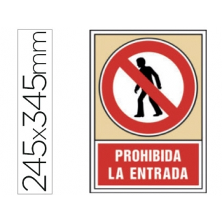 Syssa 3031 - Señal de prohibida la entrada, pvc, medida 245 mm x 345 mm