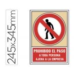 Syssa 3021 - Señal de prohibido el paso a toda persona ajena a la empresa, pvc, medida 245 mm x 345 mm