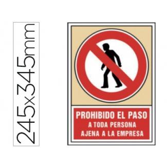 Pictograma Syssa señal de prohibición prohibido el paso a toda persona ajena a la empresa en pvc 245x345 mm