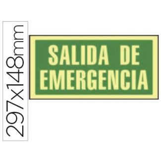 Syssa 9070F - Señal de salida de emergencia, pvc fotoluminiscente, medida 297 mm x 148 mm