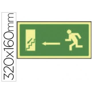 Pictograma Syssa señal de salida emergencia izquierda escalera bajando en pvc fotoluminiscente 320x160 mm