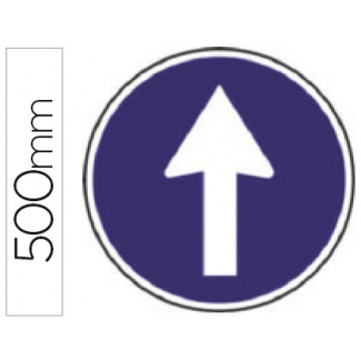 Pictograma Syssa señal vial sentido obligatorio en acero galvanizado 500 mm