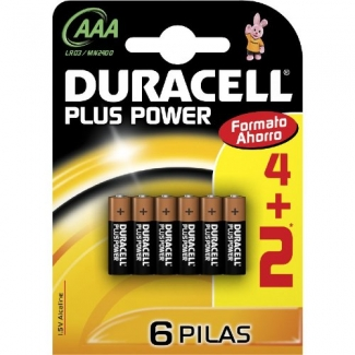 Pila Duracell alcalina plus power aaa blister de 4+2 unidades