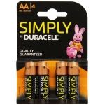 Duracell Simply S0560250 - Pila alcalina, AA (LR06), blíster con 4 pilas