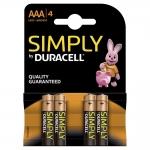 Duracell Simply S0560260 - Pila alcalina, AAA (LR03), blíster con 4 pilas
