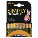 Pila Duracell alcalina simply aaa blister de 8 unidades