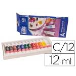 Pintura acrilica Artist caja cartón de 12 colores surtidos tubo de 12 ml
