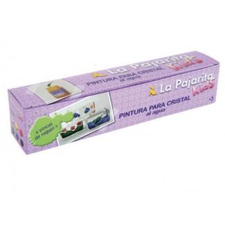 La Pajarita 999994 - Pintura laca cristal, colores surtidos + pincel, botes de 25 ml, caja de 6,