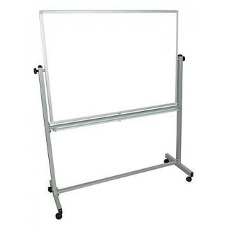 Q-Connect KF03581 - Pizarra blanca de melamina, marco de aluminio, giratoria, tamaño 120 x 90 cm