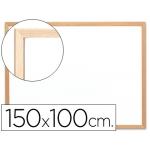 Pizarra color Blanca Q-Connect laminada marco de madera 150x100 cm