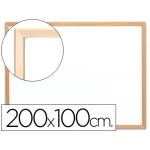 Pizarra color Blanca Q-Connect laminada marco de madera 200x100 cm