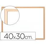 Pizarra color Blanca Q-Connect melamina marco de madera 40x30 cm