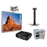 Pizarra interactiva Promethean activboard con videoproyector soporte dos altavoces y panel conexión