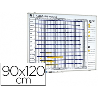 Planning magnético anual dia a dia superficie color Blanca rotulable tamaño 90x120 cm