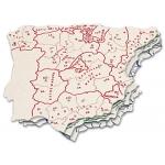 Csp 151512 - Plantilla mapa de España, plástico, bolsa de 3 mapas, tamaño 15 x 12,5 cm
