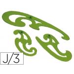 Plantillas curvas Faber-Castell juego de tres plantillas