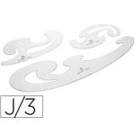 Csp 100024 - Plantilla de curvas, pack de 3 piezas, plástico, transparente