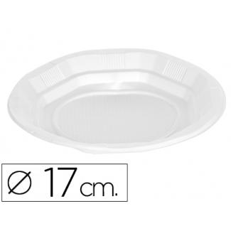 Plato de plástico color blanco llano 17 cm de diámetro de paquete de 50